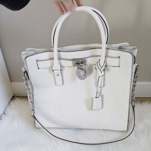 MICHARL KORS Hamilton White Leather Tote Bag